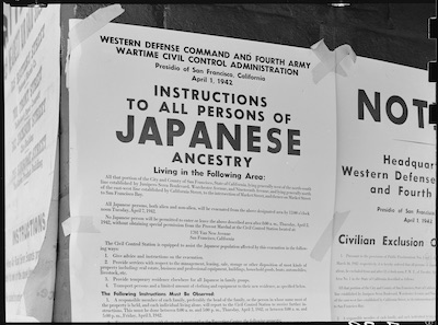 Vintage photo of flyer telling Japanese Americans to leave. Climate Victory Gardens