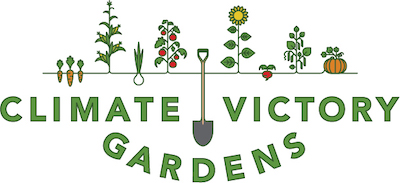 logo, climate victory gardens with shovel and growing vegetables