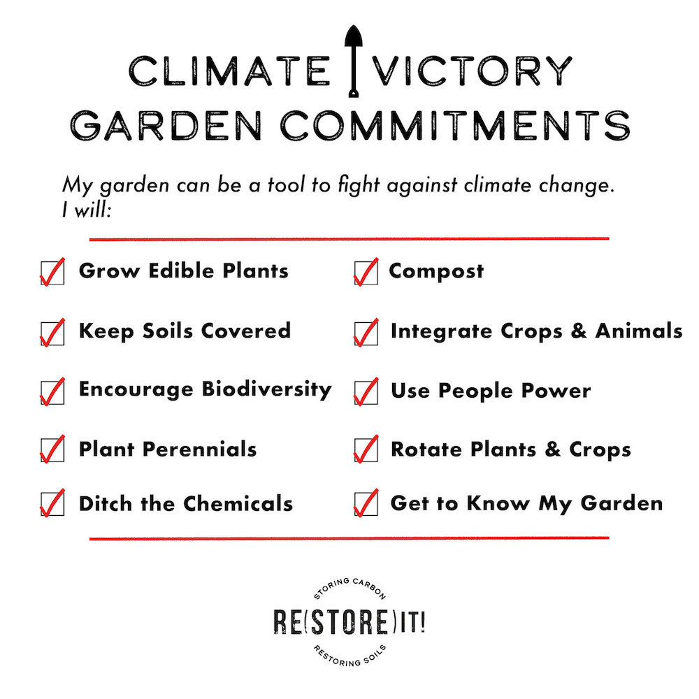 list of commitments for a Climate Victory Garden