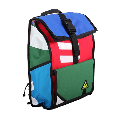 colorful harnessed backpack