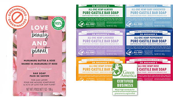 hand soap from love beauty and planet and Dr Bronners