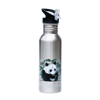 metal water bottle with panda logo