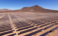 Solar panels in rows in the desert