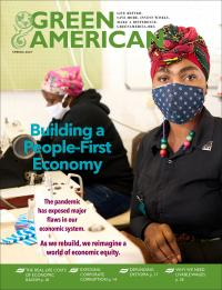 "cover of green american magazine that says ""building a people-first economy"""