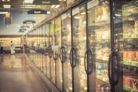 Line of freezers at supermarket