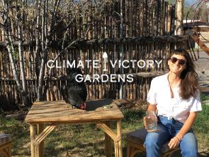 Climate Victory Gardens, Jes with chicken