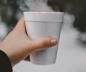 Hand holding a polystyrene cup