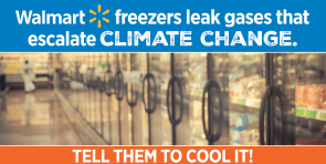 "Text that reads ""walmart freezers leak gases that escalate climate change. tell them to cool it!"" with an image of a supermarket."