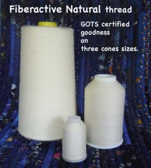 Fiberactive Natural orgnic cotton thread is Tex 30 for lighter fabrics or knits, no coatings or colors.  500 yrd, 3000 yrd and 12000 yrd cones.