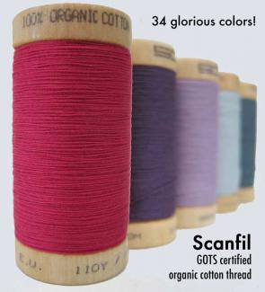 Scanfil organic cotton thread is Tex 35 for multi-purpose sewing.  Comes in 34 colors on 300 yard spools or 5000 meter cones.