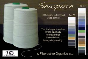 Sewpure organic cotton thread is for industrial sewing, Tex 40 is multi-purpose, Tex 70 is heavy-duty, custom colors are available.