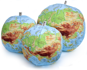 unique, handcrafted, organic cotton physical globe of the world