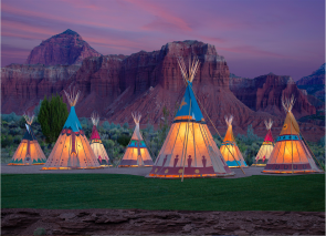 Beauty Shot of 9 Nomadics tipis at Capitol Reef Resort, UT