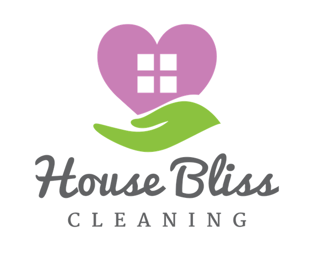 House Bliss Cleaning company logo display a green hand like symbol holding a purple heart looking house