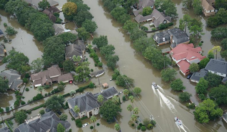 Hurricane Harvey flooded neighborhoods in Houston suburbs.