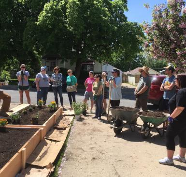 Group of volunteers around garden beds
