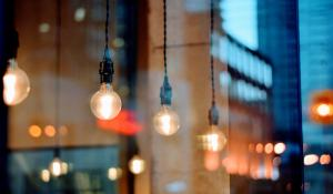 light bulbs in a cafe