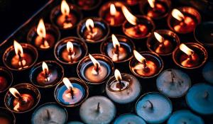 Image lit and unlit candles. Non-toxic candles.