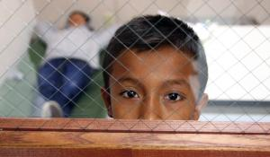 immigrant boy behind fenced glass