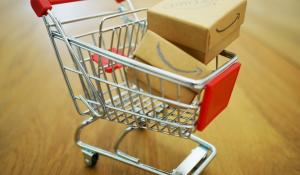 shopping cart amazon boxes