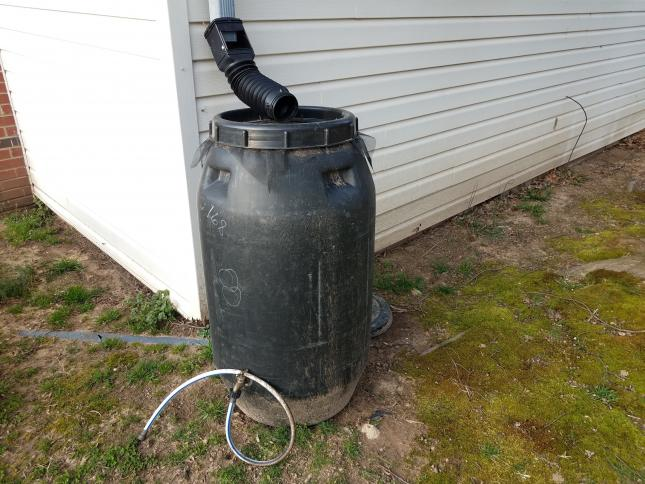 black rain barrel next to white house, build your own rain barrel for your climate victory garden