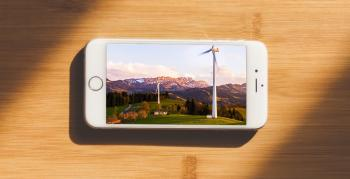 Smart phone with wind turbine image on it