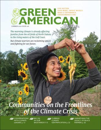 climate communities cover, woman holding crops